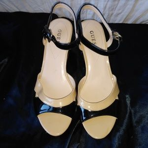 Guess black and tan cork wedges